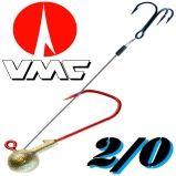 Größe 2/0 VMC Jigkopf Rundkopf mit Angsthaken / Stinger
