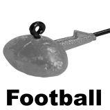 Jighaken mit Footballkopf