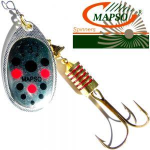 Mapso Spinner Reder Größe 2 Gewicht 4,5g Farbe Silber mit Punkten Spinnköder 1 Stück