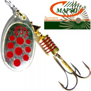 Mapso Spinner Reder Größe 2 Gewicht 4,5g Farbe Silber mit roten Punkten Spinnköder 1 Stück