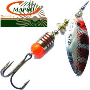 Mapso Spinner Spark Größe 1 Gewicht 4,5g Farbe T-Silber Rot Spinnköder 1 Stück