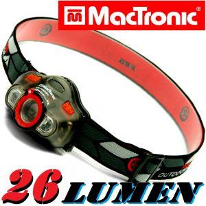 MacTronic HLS K3 FocusEye Kopflampe fokussierbar 26 Lumen Weißlicht + LED Grün & LED Rot