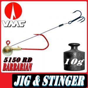 VMC Jigkopfhaken Jigkopf Rund mit Angsthaken / Stinger in Größe 2/0 10g Jighaken mit VMC Barbarian 5150 RD Haken 1 Stück
