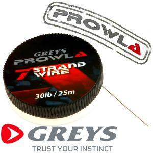 Greys Prowla 7 Strand Stahlvorfachmaterial mit 13kg -30lb Tragkraft auf 25m Spule ideal fürs Raubfischangeln 100% Hechtsicher!