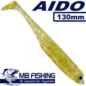AIDO Shad von MB Fishing Gummifisch 130mm Farbe Gold-Glitter 3 Stück im Set Zanderköder
