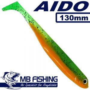 AIDO Shad von MB Fishing Gummifisch 130mm Farbe Green Tomato 3 Stück im Set Zanderköder