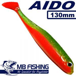 AIDO Shad MB Fishing Gummifisch 130mm Farbe Grün Orange 3 Stück im Set Zanderköder