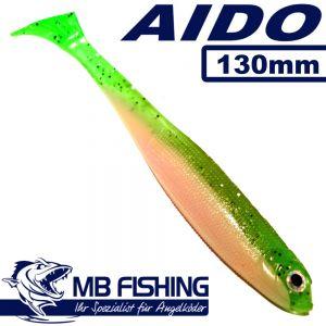 AIDO Shad von MB Fishing Gummifisch 130mm Farbe Green Violett 3 Stück im Set Zanderköder