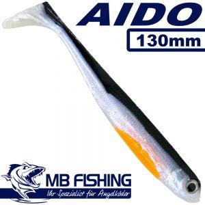 AIDO Shad von MB Fishing Gummifisch 130mm Farbe Silverline 3 Stück im Set Zanderköder