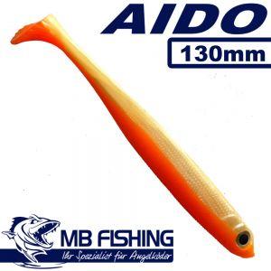 AIDO Shad Gummifisch 130mm Farbe White-Tomato Design / 3 Stück im Set Zander & Barschköder
