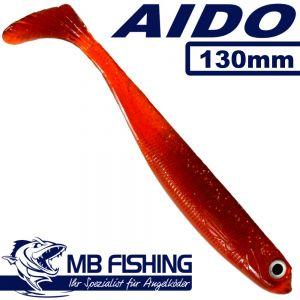 AIDO Shad von MB Fishing Gummifisch 130mm Farbe Brown Tomato UV Aktiv 3 Stück im Set Zanderköder