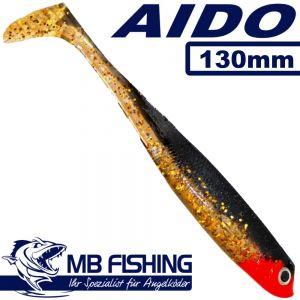 AIDO Shad von MB Fishing Gummifisch 130mm Farbe Goldy 3 Stück im Set Zanderköder