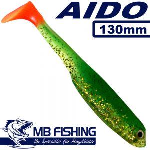 AIDO Shad von MB Fishing Gummifisch 130mm Farbe Grün Glitter OT 3 Stück im Set Zanderköder