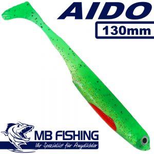 AIDO Shad von MB Fishing Gummifisch 130mm Farbe Hot Greeny 3 Stück im Set Zander & Barschköder