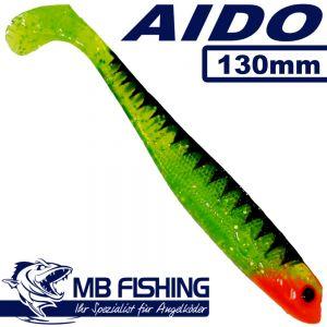 AIDO Shad von MB Fishing Gummifisch 130mm Farbe Johnnies Perch 3 Stück im Set Zanderköder