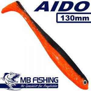 AIDO Shad von MB Fishing Gummifisch 130mm Farbe Rot Schwarz 3 Stück im Set Zanderköder