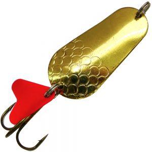 Blinker Spinnköder Länge 6cm Gewicht 18g Farbe Messing mit roter Baitflag