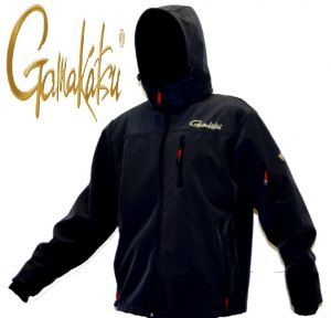 Gamakatsu Soft Shell Jacke Angeljacke mit Kapuze Gr. L Farbe Schwarz Winddicht, Atmungsaktiv & Wasserabweisend