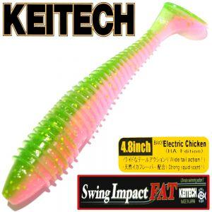 Keitech Fat Swing Impact 4,8 Gummifisch Electric Chicken 5 Stück im Set gesalzen & aromatisiert!