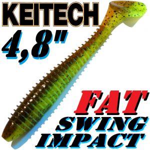 Keitech Fat Swing Impact 4,8 Gummifisch Green Pumpkin Chartreuse 5 Stück gesalzen & aromatisiert!