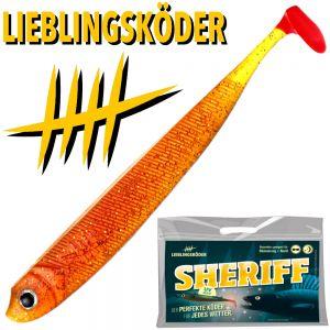 Lieblingsköder Shad 5 Gummifisch 12,5cm Farbe Sheriff für Dämmerung & Nacht 4 Stück im Set