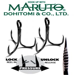 Maruto Razor Point Semi Barbless SB-36 Drillinge Schonhaken Gr.6 / 8 Stück Farbe Gunsmoke