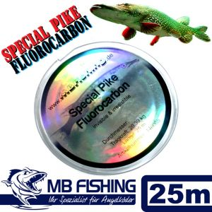 MB-Fishing Special Pike Fluorocarbon Vorfachmaterial 0,55mm 15,95kg Hechtsicher! 25 Meter PIKE FC