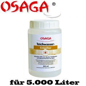 Osaga Teichwasserentgifter 250mL für 5.000 Liter Teichwasser ideal für Koiteiche, Schwimmteiche, Fischteiche, Gartenteiche Aquarium