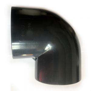 PVC-U Bogen 63mm Fitting Winkel 90° Druckklasse PN 10 = 10 bar nach DIN 8063 mit 2 X Klebemuffe für Koiteich & Gartenteich