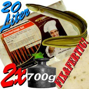 Räucherlauge für Aal Fix&Fertig gemischt 2 X 700g für ca. 2 X 10 Liter Einlegezeit ca. 12 Stunden