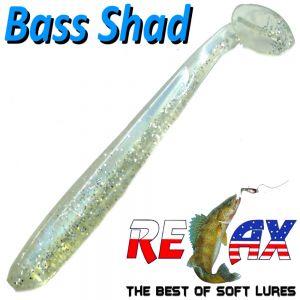 Relax Bass Shad Gummifisch 90mm in Farbe Blauperl Kristall Glitter 5 Stück im Set Barsch & Zanderköder