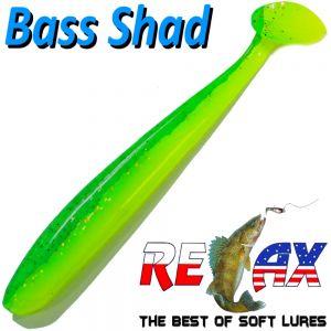 Relax Bass Shad Gummifisch 90mm in Farbe Fluogelb Grün Glitter 5 Stück im Set Barsch & Zanderköder
