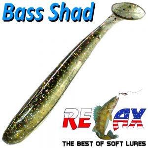 Relax Bass Shad Gummifisch 90mm in Farbe Gold Flake Minnow 5 Stück im Set Barsch & Zanderköder