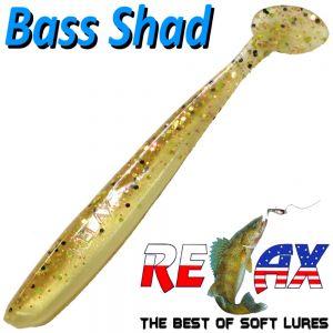 Relax Bass Shad Gummifisch 90mm in Farbe Goldperl Gold Glitter 5 Stück im Set Barsch & Zanderköder
