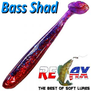 Relax Bass Shad Gummifisch 90mm in Farbe Rot Glitter Blau Glitter 5 Stück im Set Barsch & Zanderköder