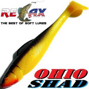 Relax Ohio Shad 4 Gummifisch ca. 10,5cm Farbe Gelb Schwarz 5 Stück im Set Barsch&Zanderköder