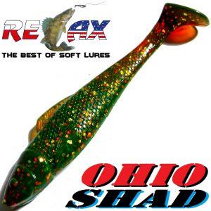 Relax Ohio Shad 4 Gummifisch ca. 10,5cm Farbe Motoroil Glitter 5 Stück im Set Barsch&Zanderköder