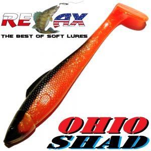 Relax Ohio Shad 4 Gummifisch ca. 10,5cm Farbe Orange Glitter Schwarz 5 Stück im Set Barsch&Zanderköder