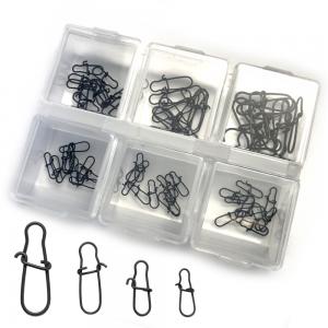 Spin Snap Set XXL 60 Stück in 4 Größen inklusive Kleinteilebox Karabiner Set Einhänger Set in Farbe Schwarz