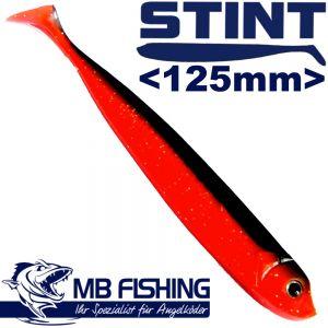 Stint Shad Gummifisch 125mm Farbe Rot Schwarz 4 Stück im Set Zander & Barschköder