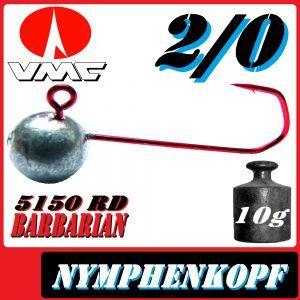 VMC Jighaken / Jigkopf - Nymphe - Wacky Größe 2/0 10g mit VMC Barbarian 5150 RD Haken 1 Stück
