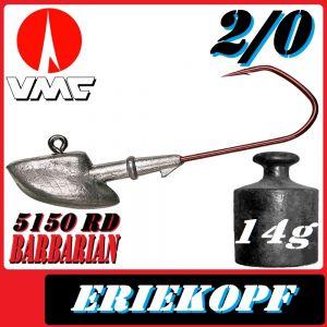 VMC Jigkopfhaken Jigkopf Eriekopf Größe 2/0 in 14g Jighaken mit VMC Barbarian 5150 RD Haken
