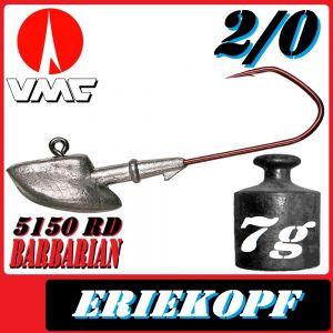 VMC Jigkopfhaken Jigkopf Eriekopf 2/0 7g Jighaken mit VMC Barbarian 5150 RD Haken