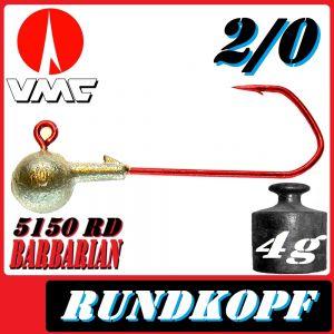 VMC Jigkopfhaken Jigkopf Rund 2/0 4g Jighaken mit VMC Barbarian 5150 RD Haken 1 Stück