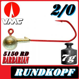 VMC Jigkopfhaken Jigkopf Rund 2/0 7g Jighaken mit VMC Barbarian 5150 RD Haken 1 Stück