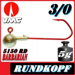 VMC Jigkopfhaken Jigkopf Rund 3/0 5g Jighaken mit VMC Barbarian 5150 RD Haken 1 Stück