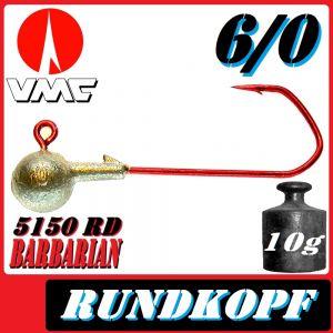 VMC Jigkopfhaken Jigkopf Rund 6/0 10g Jighaken mit VMC Barbarian 5150 RD Haken 1 Stück