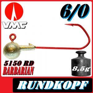 VMC Jigkopfhaken Jigkopf Rund 6/0 8,5g Jighaken mit VMC Barbarian 5150 RD Haken 1 Stück