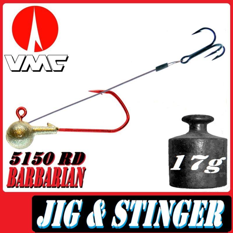Set mit 5  Jighaken größe 2//0 mit 24gramm Hakenfarbe rot VMC Haken Rundkopf