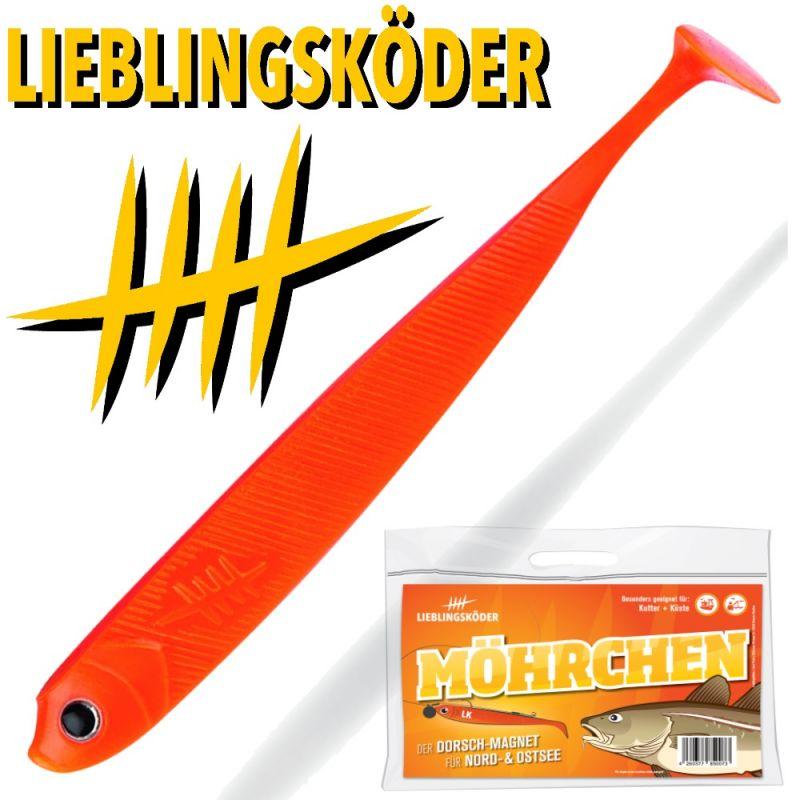 4 Lieblingsköder Möhrchen 12,5cm Zanderköder Zander Gummifische Dorsch
